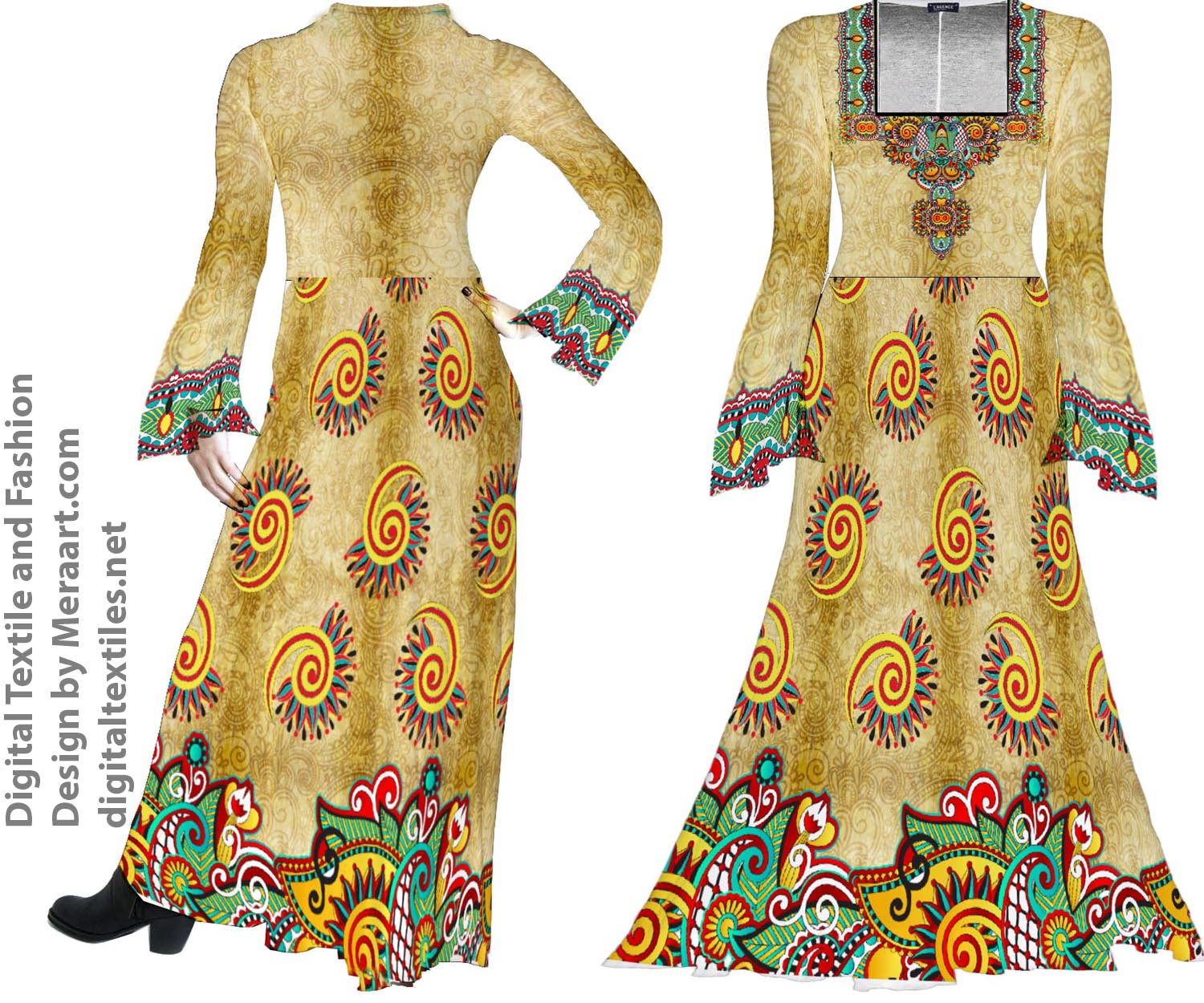 Digital textile fashion prints designer dress online servies (5)
