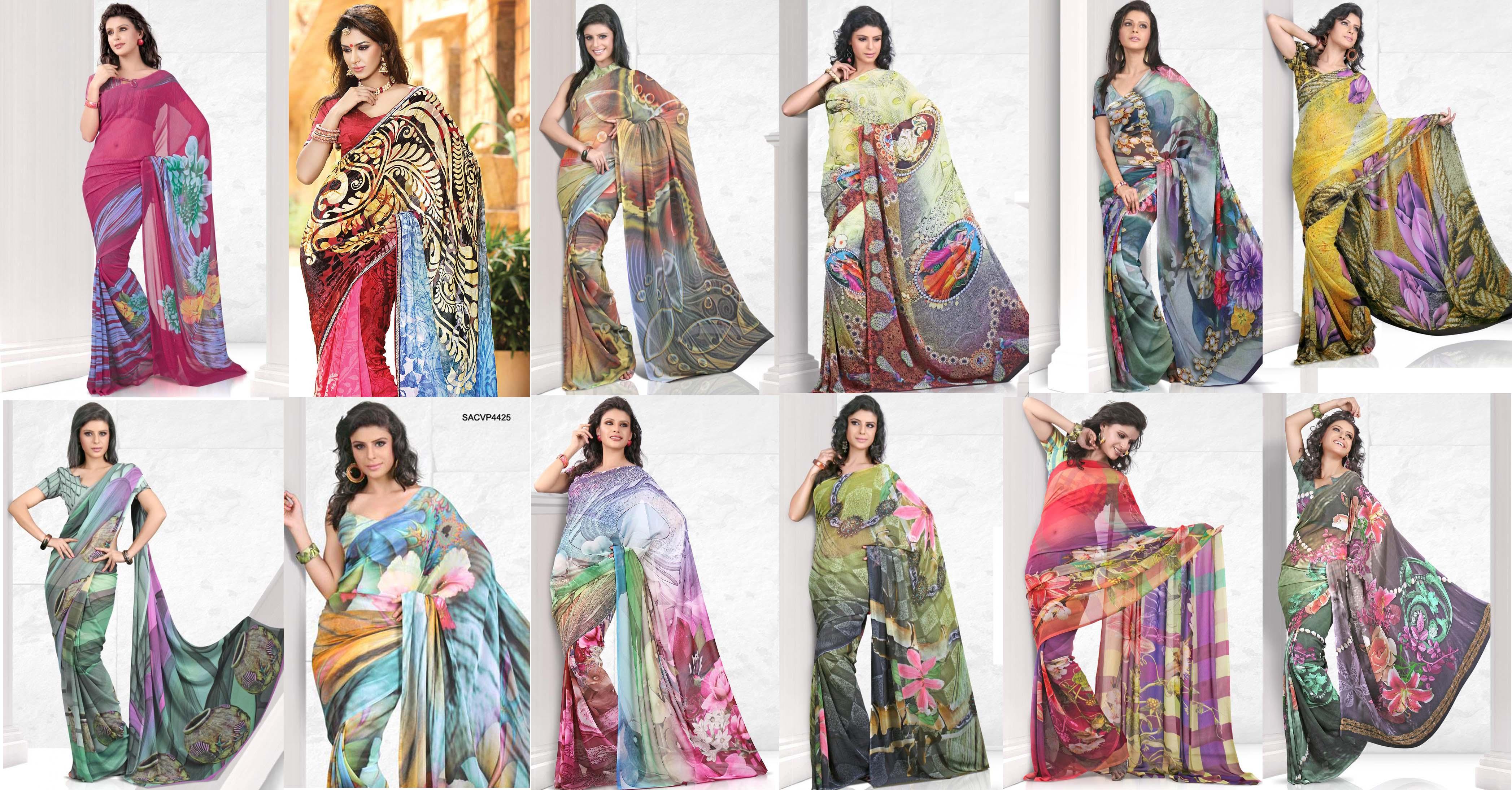 Latest Digital Printed Sarees Fashion 2015 2016 Designs
