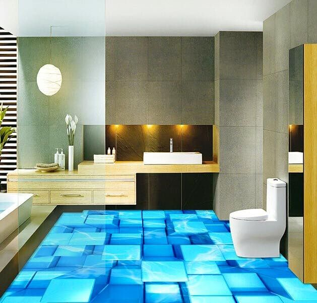 Digital 3d floor designs for room and office digital for Bathroom floor mural